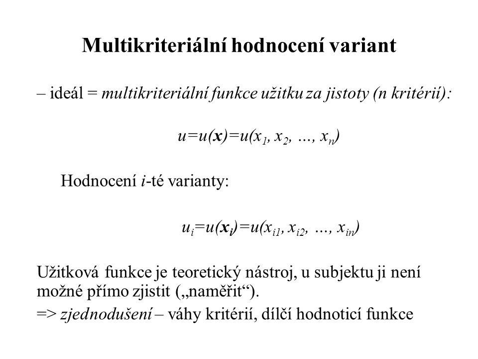 """Multikriteriální hodnocení variant – ideál = multikriteriální funkce užitku za jistoty (n kritérií): u=u(x)=u(x 1, x 2, …, x n ) Hodnocení i-té varianty: u i =u(x i )=u(x i1, x i2, …, x in ) Užitková funkce je teoretický nástroj, u subjektu ji není možné přímo zjistit (""""naměřit )."""
