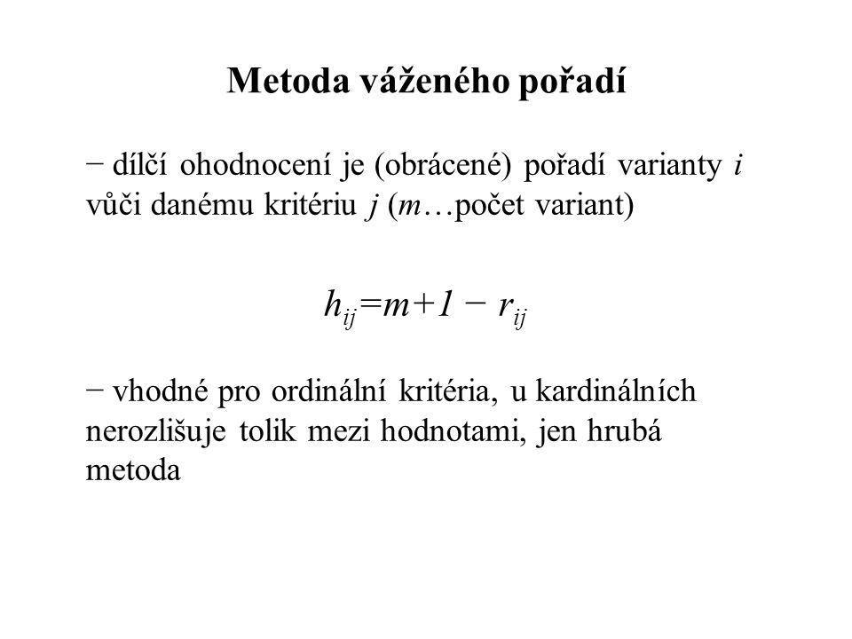 Metoda váženého pořadí − dílčí ohodnocení je (obrácené) pořadí varianty i vůči danému kritériu j (m…počet variant) h ij =m+1 − r ij − vhodné pro ordinální kritéria, u kardinálních nerozlišuje tolik mezi hodnotami, jen hrubá metoda