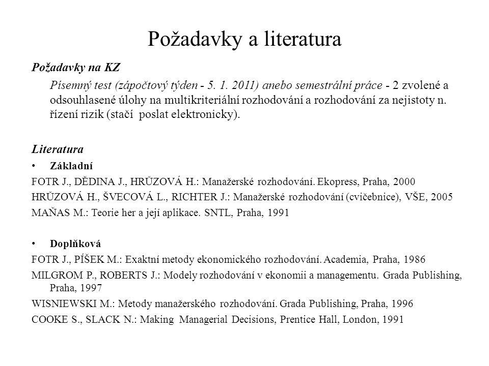 Požadavky a literatura Požadavky na KZ Písemný test (zápočtový týden - 5.