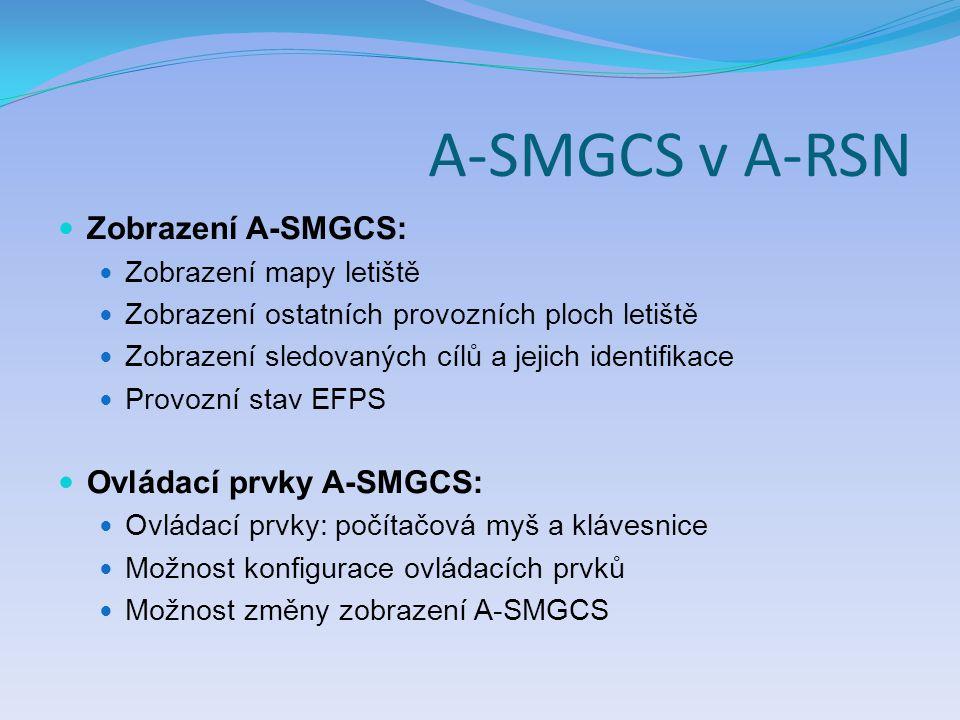 A-SMGCS v A-RSN Zobrazení A-SMGCS: Zobrazení mapy letiště Zobrazení ostatních provozních ploch letiště Zobrazení sledovaných cílů a jejich identifikac