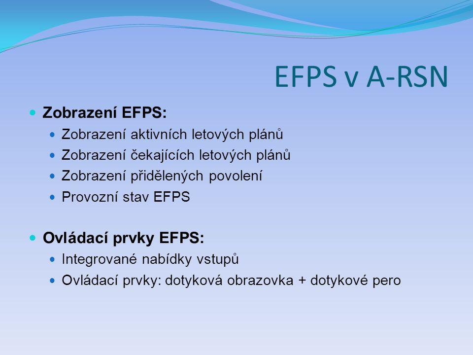 EFPS v A-RSN Zobrazení EFPS: Zobrazení aktivních letových plánů Zobrazení čekajících letových plánů Zobrazení přidělených povolení Provozní stav EFPS