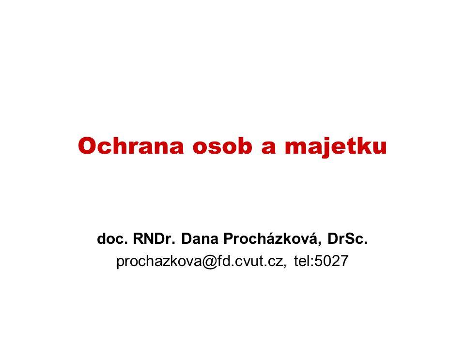 Ochrana osob a majetku doc. RNDr. Dana Procházková, DrSc. prochazkova@fd.cvut.cz, tel:5027