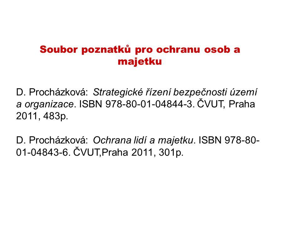 Soubor poznatků pro ochranu osob a majetku D. Procházková: Strategické řízení bezpečnosti území a organizace. ISBN 978-80-01-04844-3. ČVUT, Praha 2011