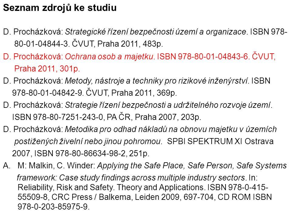Seznam zdrojů ke studiu D. Procházková: Strategické řízení bezpečnosti území a organizace. ISBN 978- 80-01-04844-3. ČVUT, Praha 2011, 483p. D. Procház