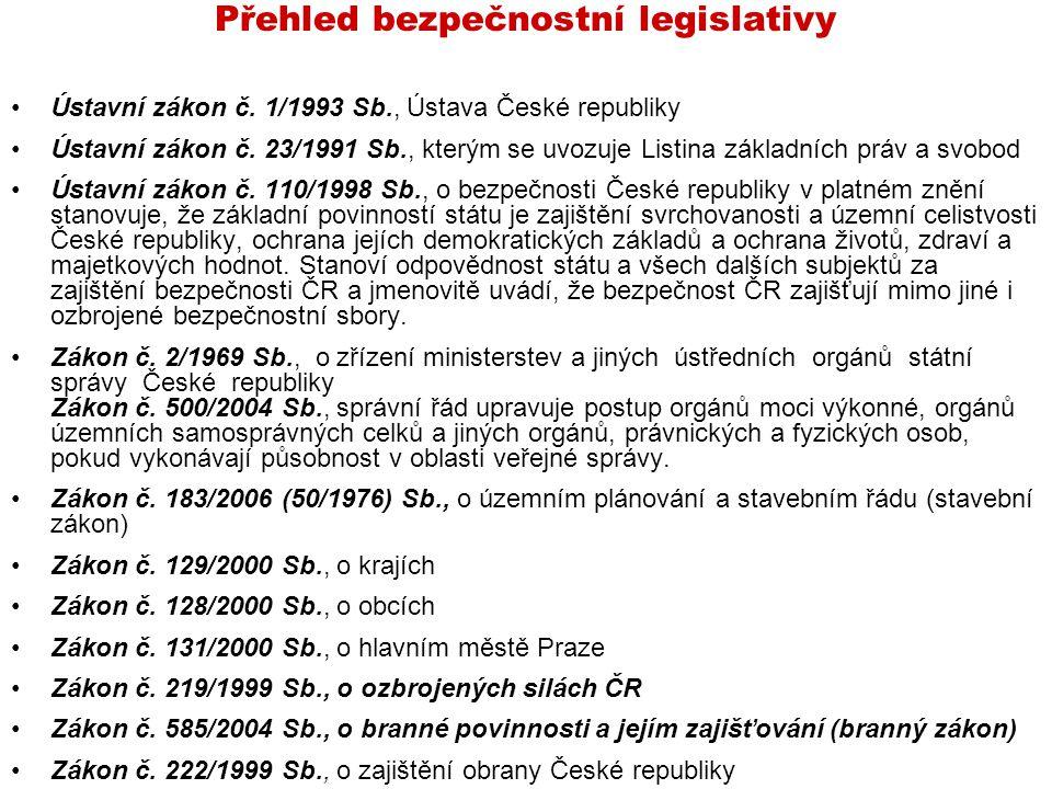 Přehled bezpečnostní legislativy Ústavní zákon č. 1/1993 Sb., Ústava České republiky Ústavní zákon č. 23/1991 Sb., kterým se uvozuje Listina základníc
