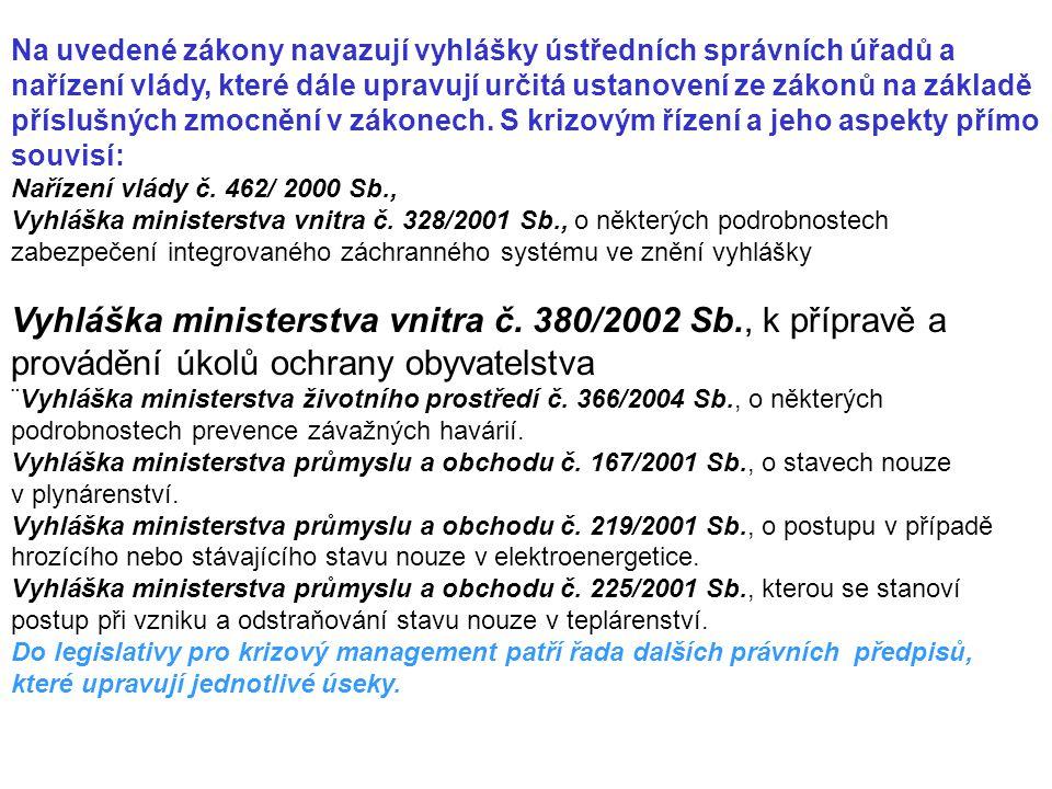 Na uvedené zákony navazují vyhlášky ústředních správních úřadů a nařízení vlády, které dále upravují určitá ustanovení ze zákonů na základě příslušnýc