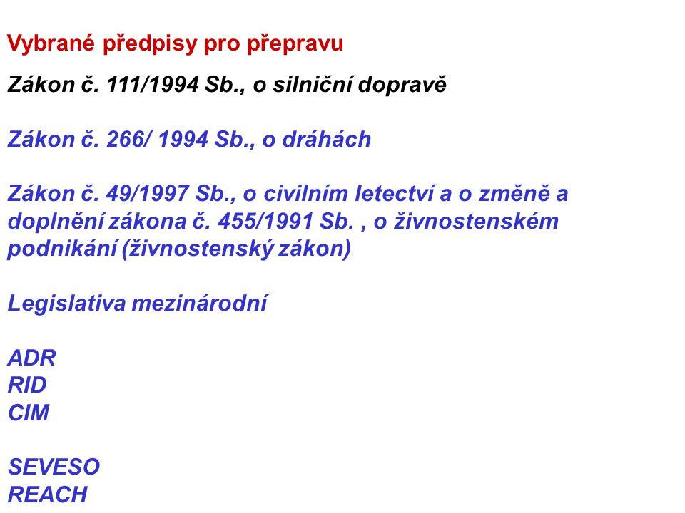 Vybrané předpisy pro přepravu Zákon č. 111/1994 Sb., o silniční dopravě Zákon č. 266/ 1994 Sb., o dráhách Zákon č. 49/1997 Sb., o civilním letectví a