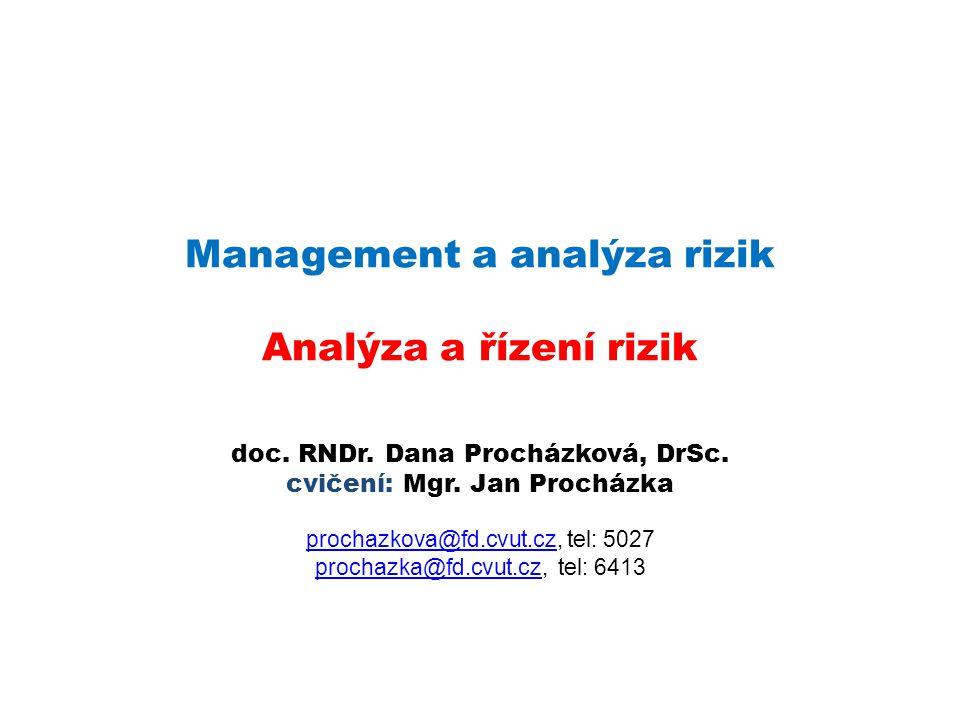 Management a analýza rizik Analýza a řízení rizik doc. RNDr. Dana Procházková, DrSc. cvičení: Mgr. Jan Procházka prochazkova@fd.cvut.czprochazkova@fd.
