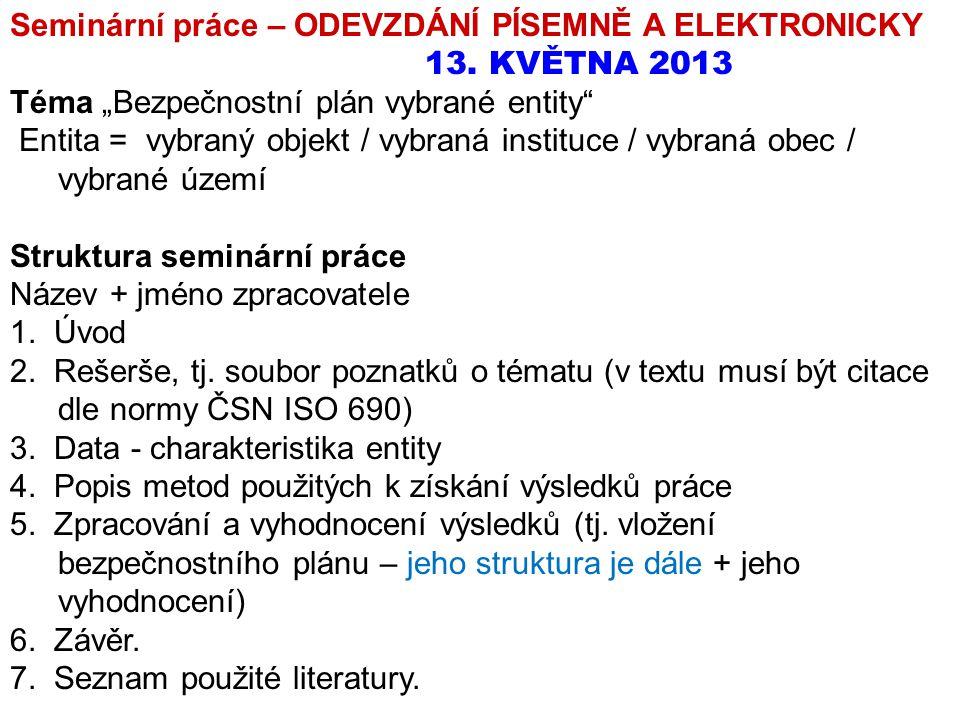 """Seminární práce – ODEVZDÁNÍ PÍSEMNĚ A ELEKTRONICKY 13. KVĚTNA 2013 Téma """"Bezpečnostní plán vybrané entity"""" Entita = vybraný objekt / vybraná instituce"""