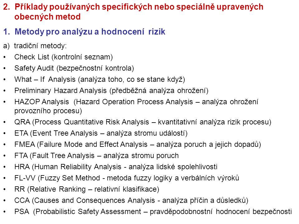 2. Příklady používaných specifických nebo speciálně upravených obecných metod 1. Metody pro analýzu a hodnocení rizik a) tradiční metody: Check List (