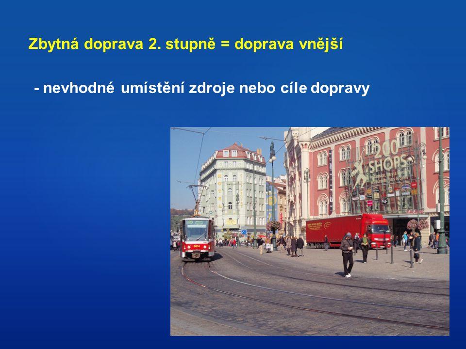 Zbytná doprava 2. stupně = doprava vnější - nevhodné umístění zdroje nebo cíle dopravy