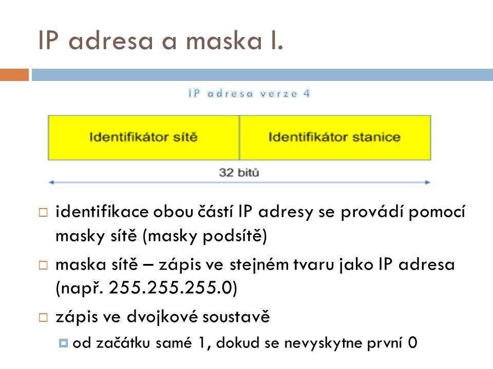 IP adresa a maska I.  identifikace obou částí IP adresy se provádí pomocí masky sítě (masky podsítě)  maska sítě – zápis ve stejném tvaru jako IP ad