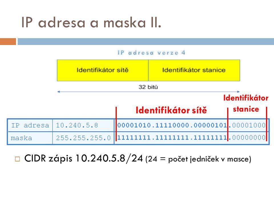IP adresa a maska II.  CIDR zápis 10.240.5.8/24 (24 = počet jedniček v masce) Identifikátor sítě Identifikátor stanice