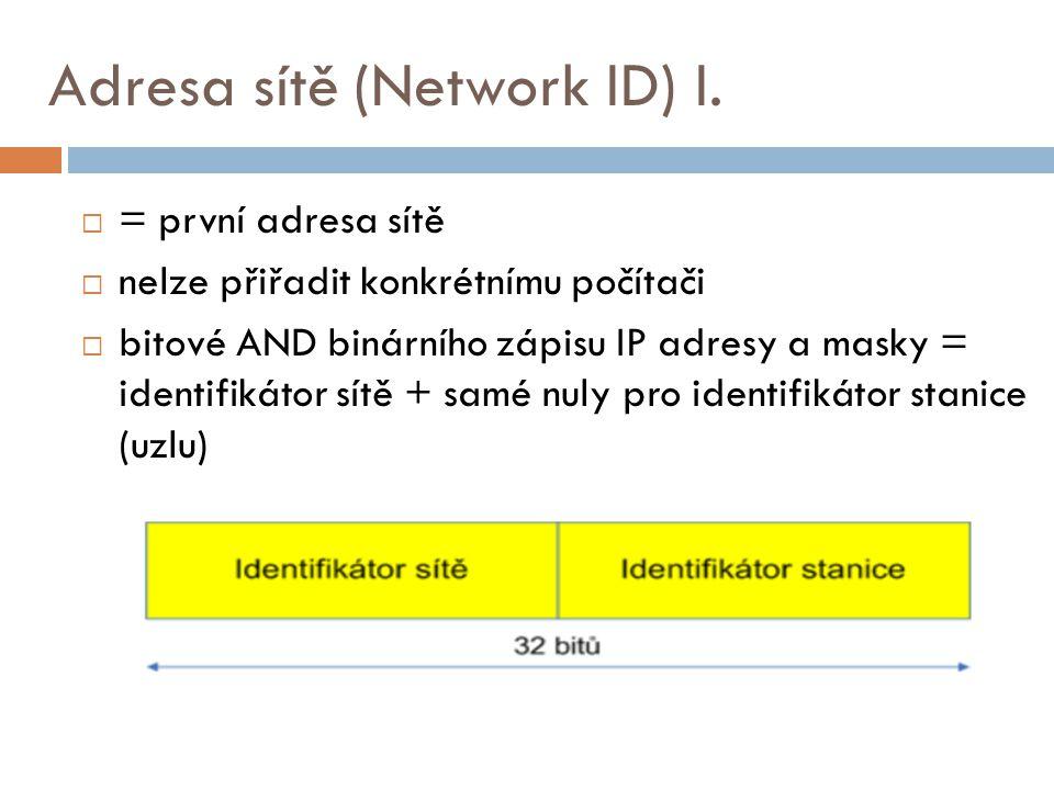 Adresa sítě (Network ID) I.  = první adresa sítě  nelze přiřadit konkrétnímu počítači  bitové AND binárního zápisu IP adresy a masky = identifikáto