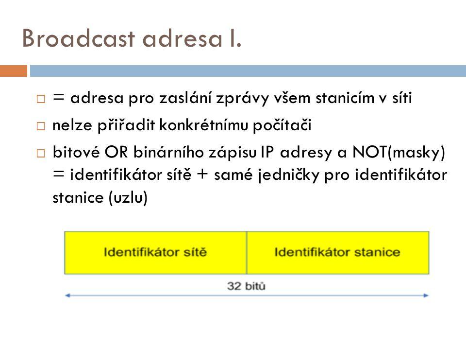 Broadcast adresa I.  = adresa pro zaslání zprávy všem stanicím v síti  nelze přiřadit konkrétnímu počítači  bitové OR binárního zápisu IP adresy a