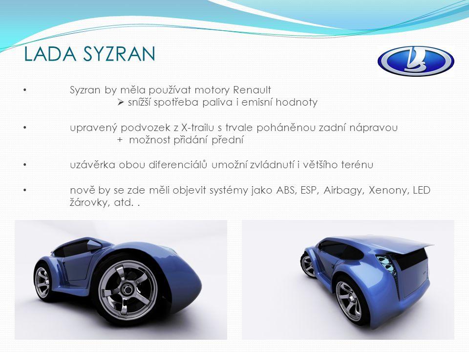 Syzran by měla používat motory Renault  snížší spotřeba paliva i emisní hodnoty upravený podvozek z X-trailu s trvale poháněnou zadní nápravou + možnost přidání přední uzávěrka obou diferenciálů umožní zvládnutí i většího terénu nově by se zde měli objevit systémy jako ABS, ESP, Airbagy, Xenony, LED žárovky, atd..