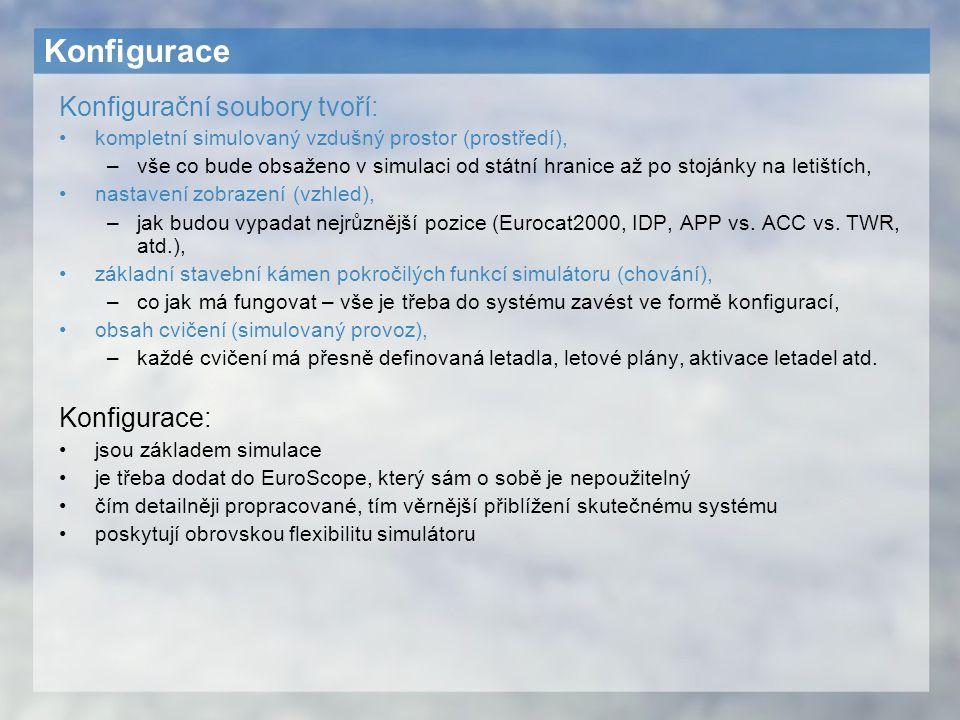 Konfigurace Konfigurační soubory tvoří: kompletní simulovaný vzdušný prostor (prostředí), –vše co bude obsaženo v simulaci od státní hranice až po sto