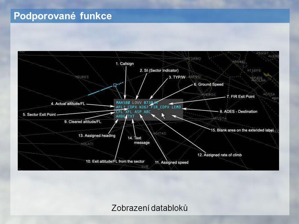 Podporované funkce Zobrazení databloků