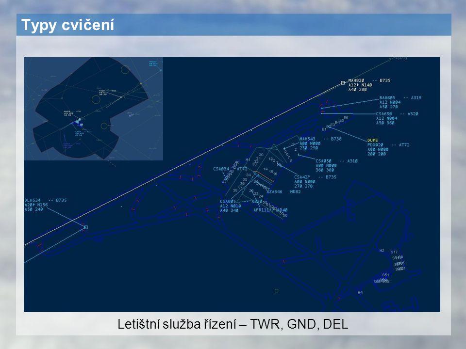 Typy cvičení Letištní služba řízení – TWR, GND, DEL