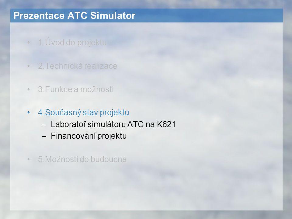 Prezentace ATC Simulator 1.Úvod do projektu 2.Technická realizace 3.Funkce a možnosti 4.Současný stav projektu –Laboratoř simulátoru ATC na K621 –Fina