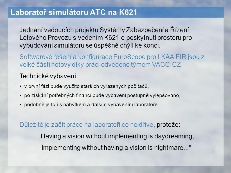 Laboratoř simulátoru ATC na K621 Jednání vedoucích projektu Systémy Zabezpečení a Řízení Letového Provozu s vedením K621 o poskytnutí prostorů pro vyb