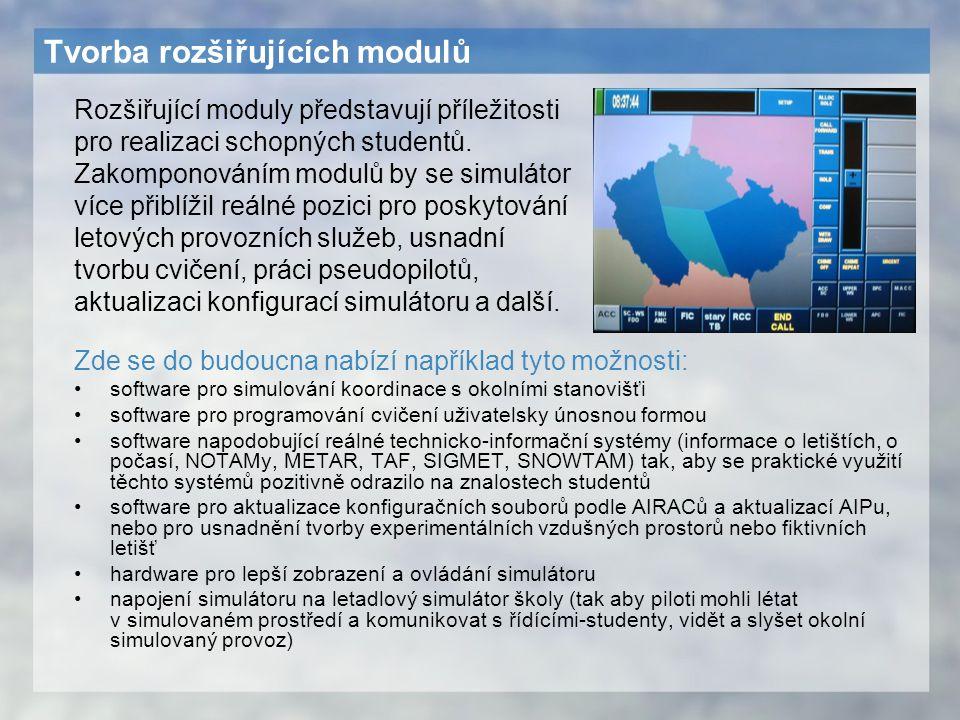 Tvorba rozšiřujících modulů Zde se do budoucna nabízí například tyto možnosti: software pro simulování koordinace s okolními stanovišťi software pro p