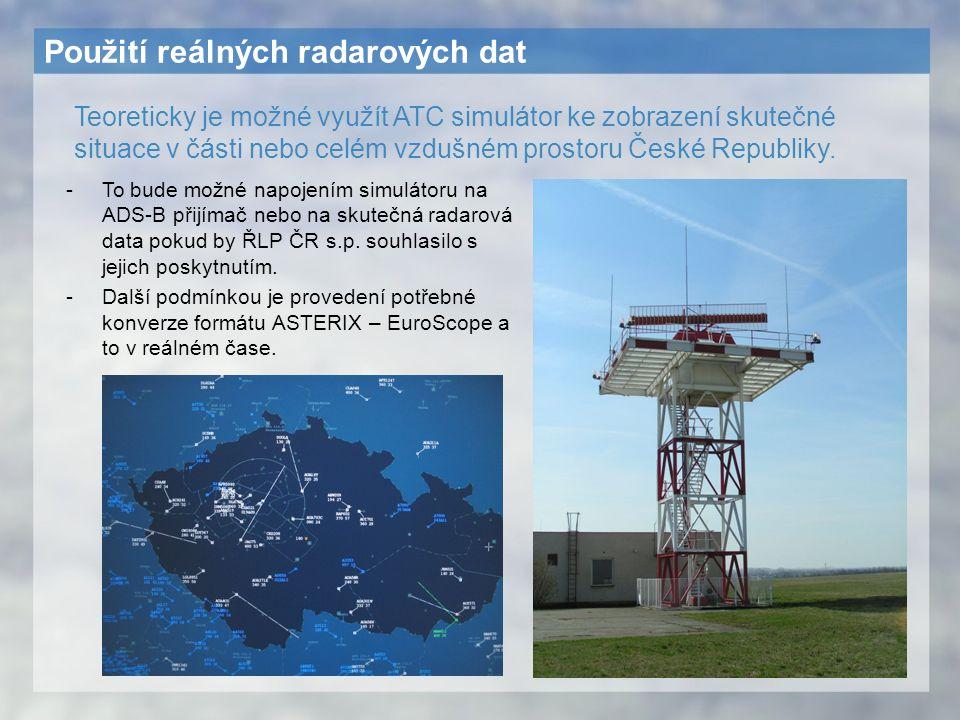 Použití reálných radarových dat -To bude možné napojením simulátoru na ADS-B přijímač nebo na skutečná radarová data pokud by ŘLP ČR s.p. souhlasilo s