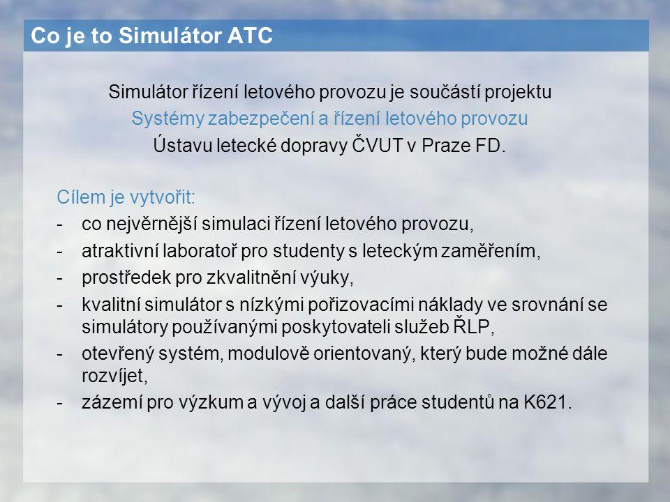 Co je to Simulátor ATC Cílem je vytvořit: -co nejvěrnější simulaci řízení letového provozu, -atraktivní laboratoř pro studenty s leteckým zaměřením, -