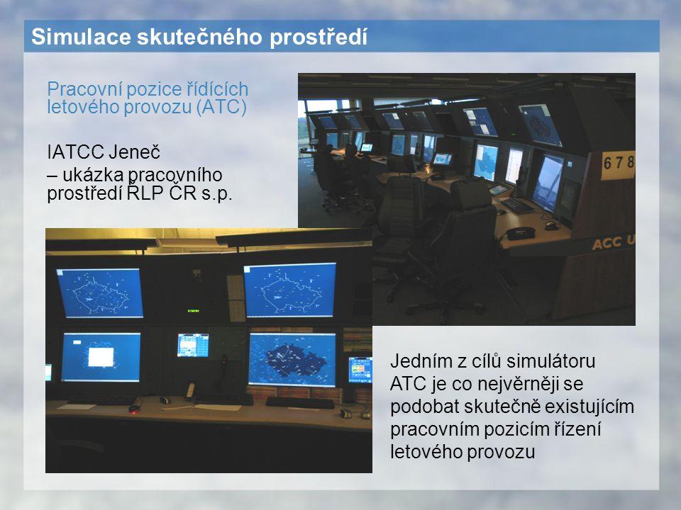 Simulace skutečného prostředí Pracovní pozice řídících letového provozu (ATC) IATCC Jeneč – ukázka pracovního prostředí ŘLP ČR s.p. Jedním z cílů simu