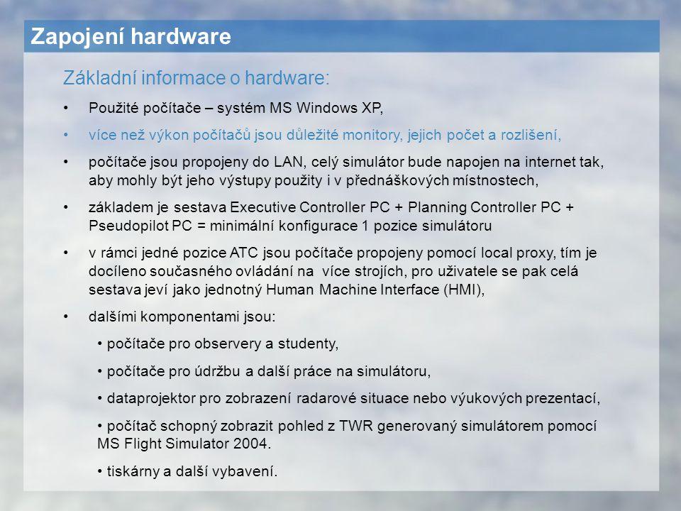 Zapojení hardware Základní informace o hardware: Použité počítače – systém MS Windows XP, více než výkon počítačů jsou důležité monitory, jejich počet