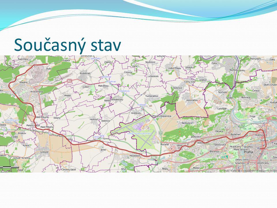 Současný stav Železniční spojení metropole s největším městem Středočeského kraje - Kladnem Denně přepraví 5 tisíc cestujících Dlouhodobě vyhrává auto