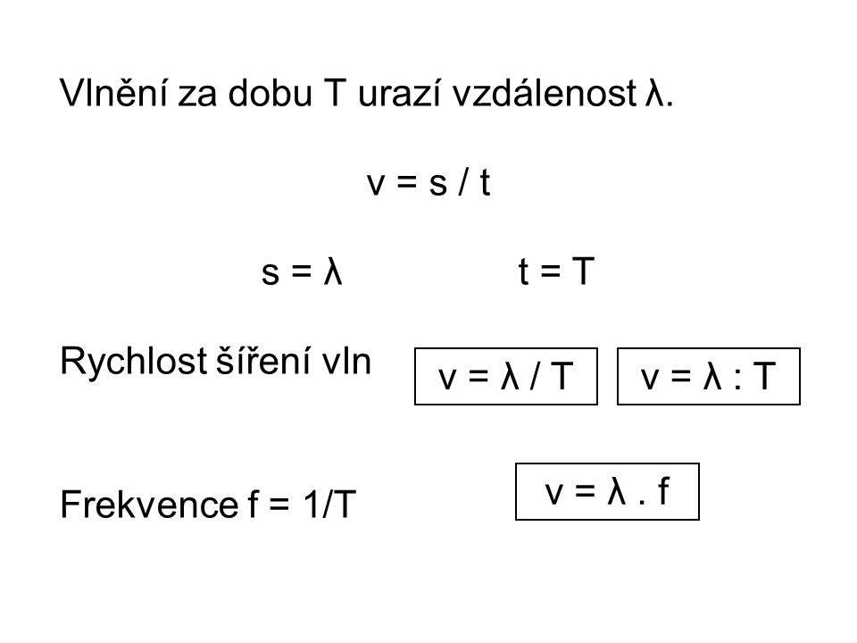 Vlnění za dobu T urazí vzdálenost λ.