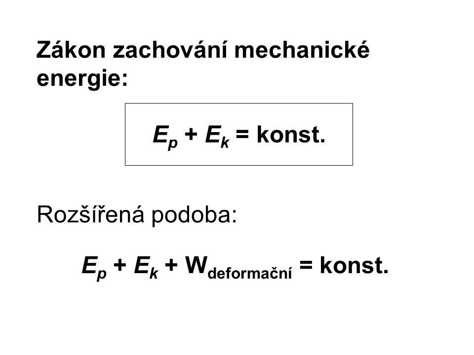 Zákon zachování mechanické energie: Rozšířená podoba: E p + E k + W deformační = konst. E p + E k = konst.