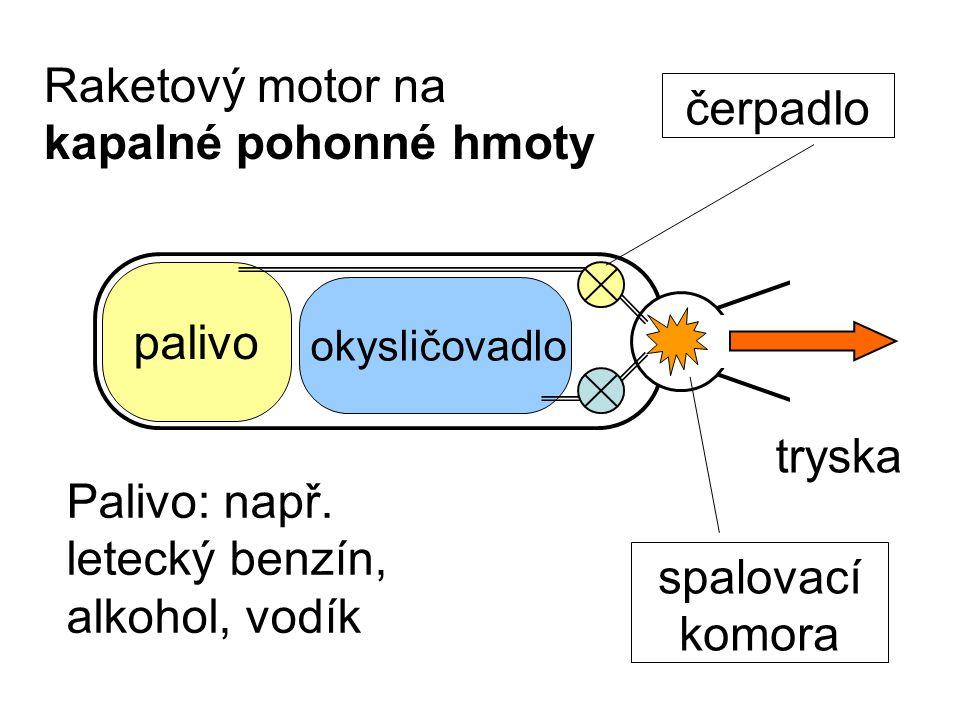 Raketový motor na kapalné pohonné hmoty Palivo: např.