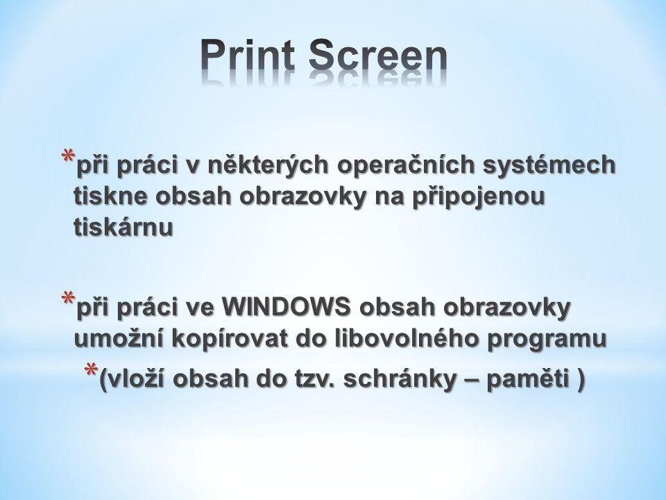 * při práci v některých operačních systémech tiskne obsah obrazovky na připojenou tiskárnu * při práci ve WINDOWS obsah obrazovky umožní kopírovat do
