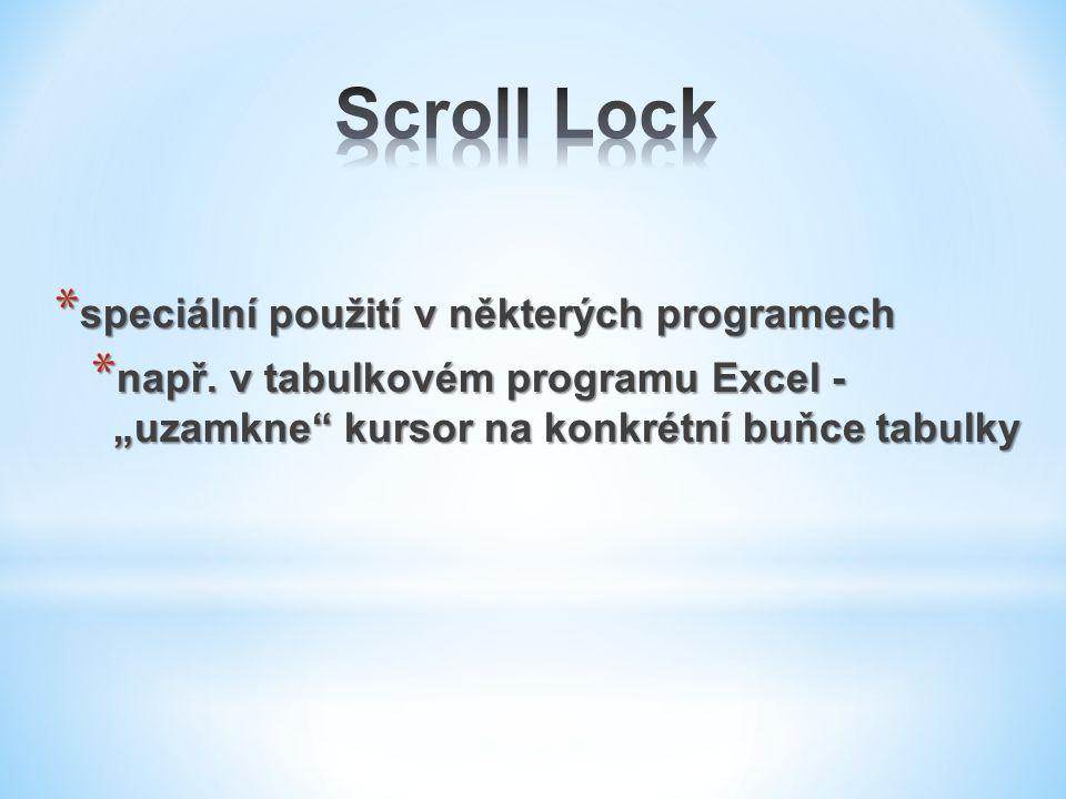 """* speciální použití v některých programech * např. v tabulkovém programu Excel - """"uzamkne"""" kursor na konkrétní buňce tabulky"""