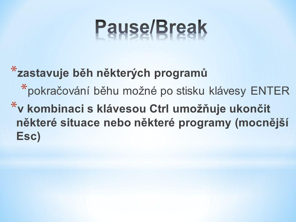 * zastavuje běh některých programů * pokračování běhu možné po stisku klávesy ENTER * v kombinaci s klávesou Ctrl umožňuje ukončit některé situace nebo některé programy (mocnější Esc)