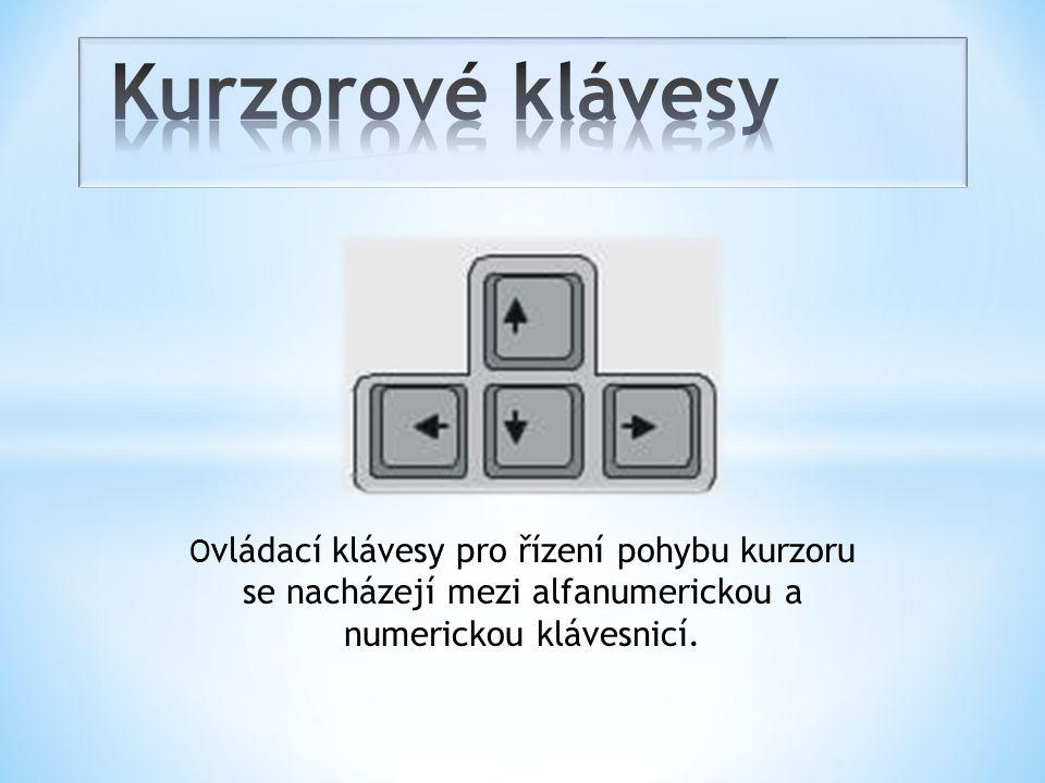 O vládací klávesy pro řízení pohybu kurzoru se nacházejí mezi alfanumerickou a numerickou klávesnicí.