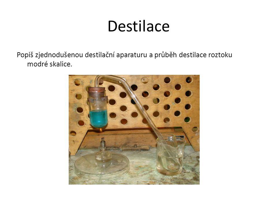 Destilace Popiš zjednodušenou destilační aparaturu a průběh destilace roztoku modré skalice.