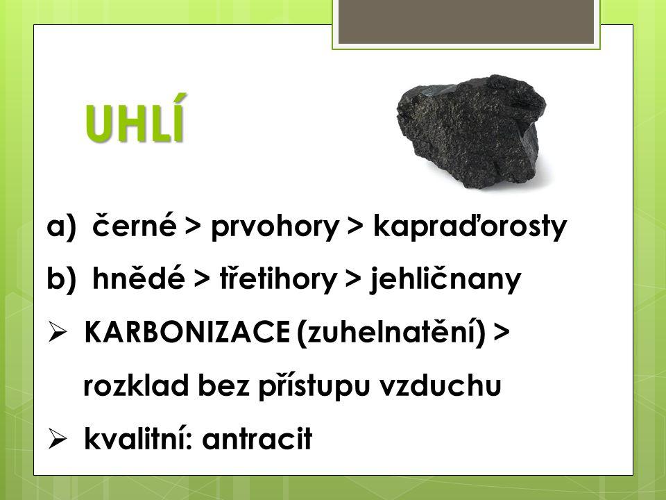UHLÍ a) černé > prvohory > kapraďorosty b) hnědé > třetihory > jehličnany  KARBONIZACE (zuhelnatění) > rozklad bez přístupu vzduchu  kvalitní: antra