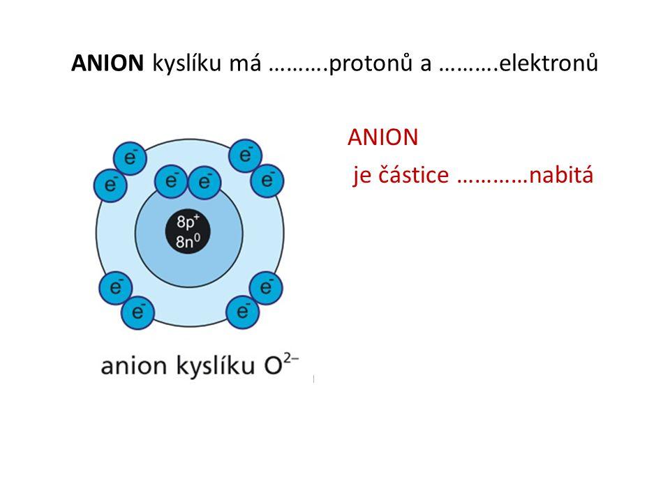 ANION kyslíku má ……….protonů a ……….elektronů ANION je částice …………nabitá