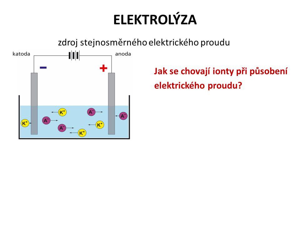 ELEKTROLÝZA zdroj stejnosměrného elektrického proudu Jak se chovají ionty při působení elektrického proudu?