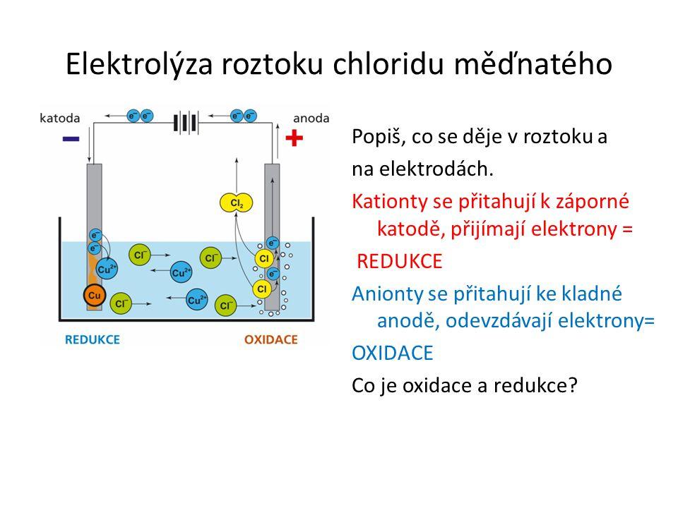 Elektrolýza roztoku chloridu měďnatého Popiš, co se děje v roztoku a na elektrodách.