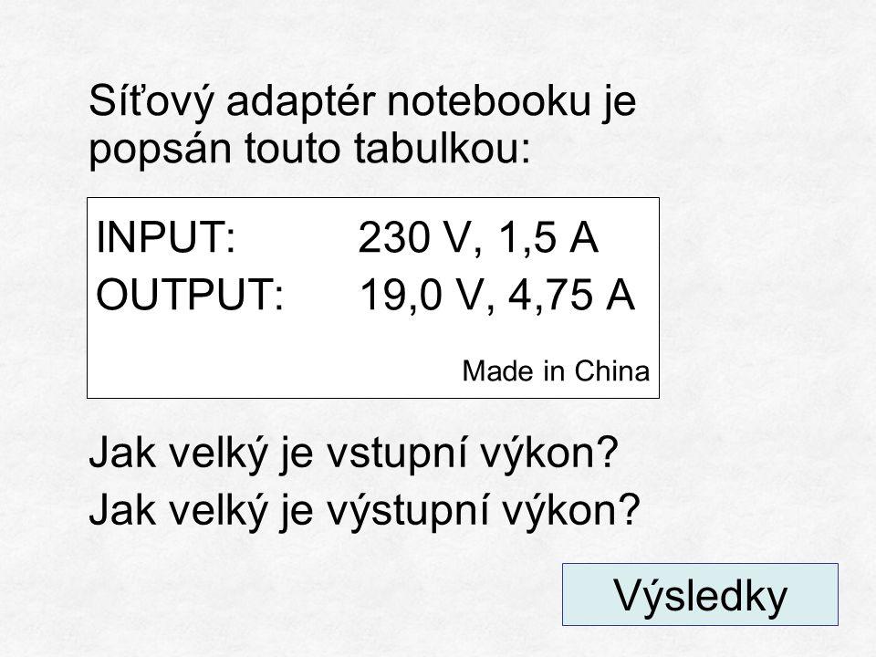 INPUT U 1 = 230 V I 1 = 1,5 A P 1 = U ∙ I P 1 = 230 ∙ 1,5 P 1 = 345 W OUTPUT U 2 = 19 V I 2 = 4,75 A P 2 = U ∙ I P 2 = 18 ∙ 4,75 P 2 = 90 W Kam se ztratil rozdíl 255 W.