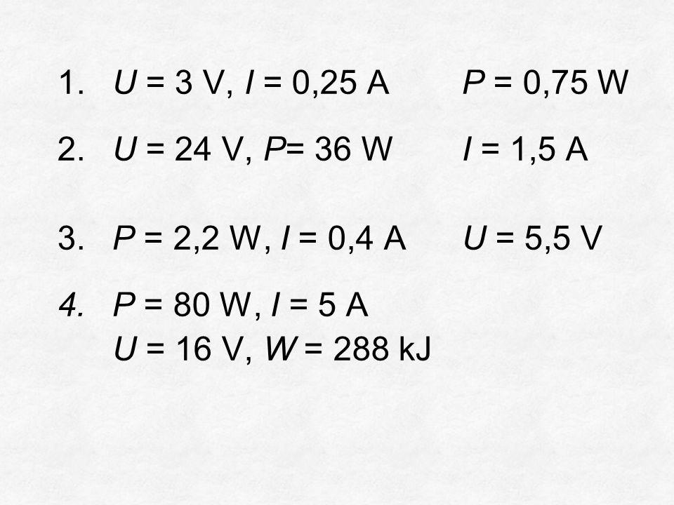 1.U = 3 V, I = 0,25 AP = 0,75 W 2.U = 24 V, P= 36 WI = 1,5 A 3.P = 2,2 W, I = 0,4 AU = 5,5 V 4.P = 80 W, I = 5 A U = 16 V, W = 288 kJ