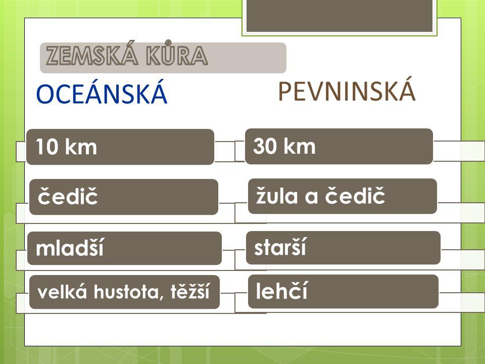 10 km čedič mladší velká hustota, těžší 30 km žula a čedič starší lehčí PEVNINSKÁ OCEÁNSKÁ