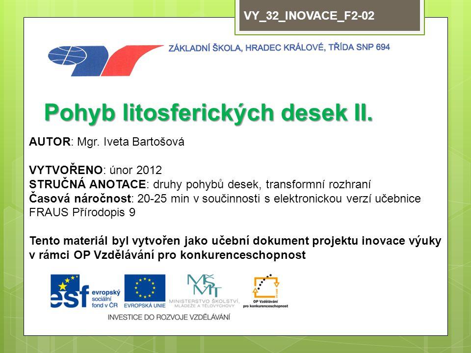 VY_32_INOVACE_F2-02 Pohyb litosferických desek II.