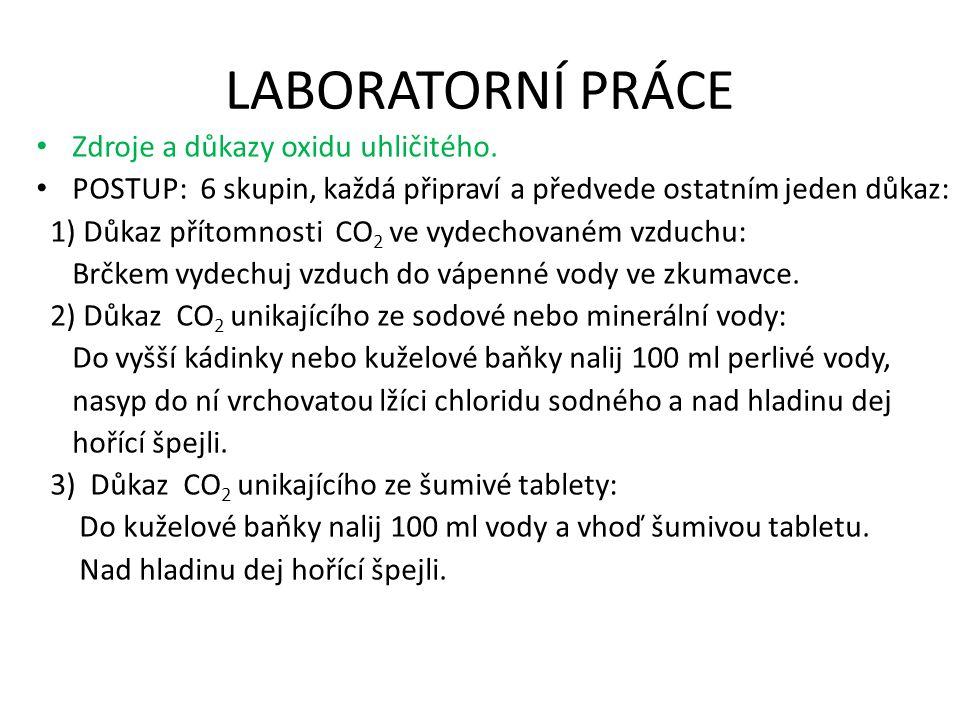 LABORATORNÍ PRÁCE Zdroje a důkazy oxidu uhličitého.
