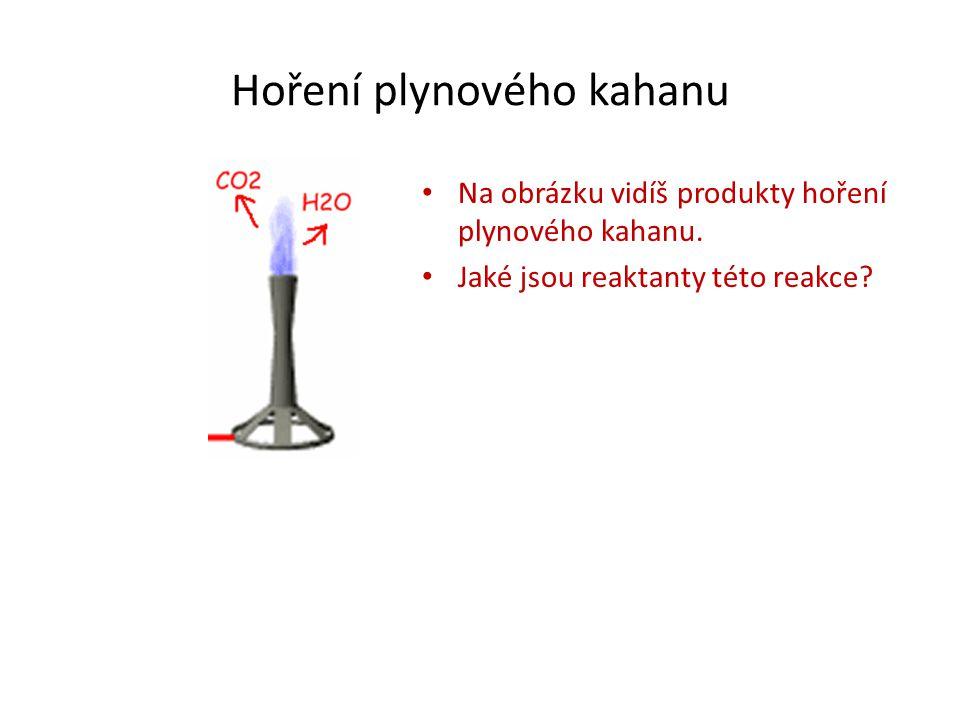 Hoření plynového kahanu Na obrázku vidíš produkty hoření plynového kahanu. Jaké jsou reaktanty této reakce?