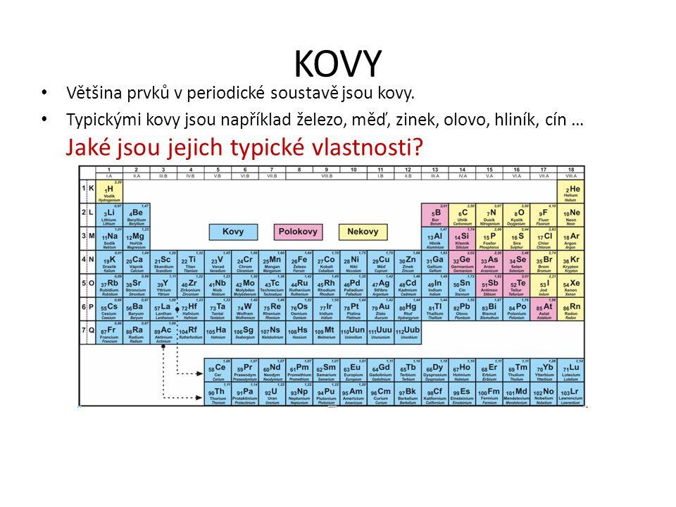 KOVY Většina prvků v periodické soustavě jsou kovy. Typickými kovy jsou například železo, měď, zinek, olovo, hliník, cín … Jaké jsou jejich typické vl